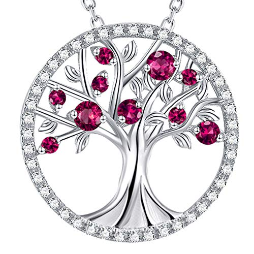 GinoMay Mothers Day Gifts Mum Birthday Gifts Her Tree of Life Necklace Sterling Silver January Birthstone Garnet Jewellery for Women (Jewellery)