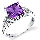 14K White Gold Amethyst Diamond Ring Princess Cut 2 Carats Total