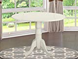 East West Furniture DLT-WHI-TP Dublin Table-Linen White Table Top Surface and Linen White Finish Pedestal Legs Solid wood Frame Wood Dining Table