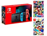 Console Nintendo Switch 32Gb Rouge/Bleu Néon + Manette Joy-Con droite/guche, support Joy-Con station d'accueil Nintendo Switch un câble HDMI, un adaptateur secteur Nintendo Switch - Une paire de dragonnes Joy-Con inclus: Super Mario Party + Mario Kar...