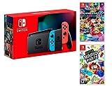Console Nintendo Switch 32Gb Rouge/Bleu Néon + Manette Joy-Con droite/guche, support Joy-Con station d'accueil Nintendo Switch un câble HDMI, un adaptateur secteur Nintendo Switch - Une paire de dragonnes Joy-Con inclus: Super Mario Party + Mario Kar...