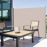 Tangkula Outdoor Patio Retractable Folding Side Screen Awning Waterproof Sun Shade Wind Screen Privacy Divider (118.5' x 71', Beige)