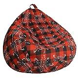 SANMADROLA Christmas Pattern Stuffed Animal Storage Bean Bag Chair Cover(No Filler) for Kids.Premium Cotton Canvas Stuffable Zipper Beanbag for Organizing Children Plush Toys Small 100L (Christmas08)