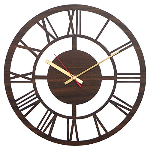 Simran Handicrafts Round Roman Wood Carving MDF Design Wall Clock, Perfect for Office, Classroom,...