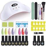 Kit de esmalte de uñas en gel Ab con secador de uñas UV/LED de 36 W, esmalte en gel de 8 colores con base y capa superior, kit de manicura en...