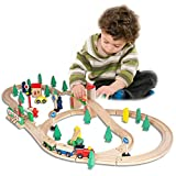 FUNPENY Wooden Train Set Toys,Train Tracks Sets for Kids&Toddlers