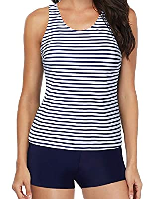 【FEATRUES】: Striped swim tank top + Blue sports bra + Blue boyshort. Trendy 3 piece bathing suit offers you a playful range of combination, such as tankini swimsuits built-in padded bra or only one piece swim top matches with tankini short. 【STYLE】:...