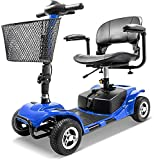Furgle 4 Wheel Mobility Scooter Electric Power Mobile Wheelchair for Seniors Adult - Collapsible and Compact Duty Travel Scooter w/Basket and Long Range Power Extended Battery