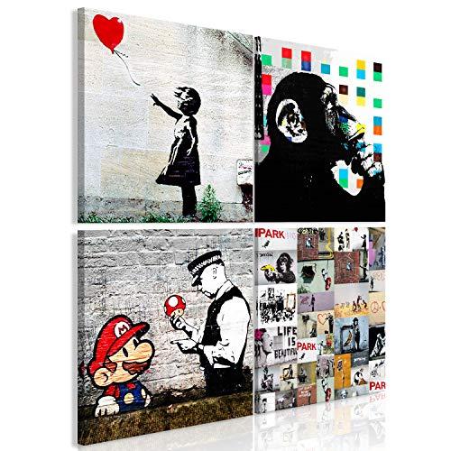 murando Quadro Banksy 80x80 cm Stampa su Tela in TNT XXL Immagini Moderni Murale Fotografia Grafica Decorazione da Parete 4 Parti Nero Bianco Scimmia Mario i-B-0057-b-a