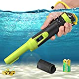 VOLADOR Portable Metal Detector, IP68 Fully Waterproof Pinpointer with LCD Display, Handheld Pin Pointer, Treasure Finder Unearthing Tool with Lanyard, Holster, 9V Battery