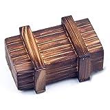 Kreatives Geschenk für Erwachsene und Kinder Kleine Holz-Truhe mit Geheimfach - Ein lustiges Geduldspiel Maße: 10,5cm x 6,6cm x 4,5cm Perfekt geeignet als Geld-, Gutschein- oder Schmuckgeschenk Hochwertige Schatulle aus Echt-Holz