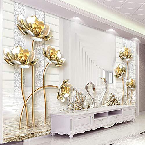 TIANZXS Mural de Papel Tapiz de Estilo Europeo 3D estéreo Golden Lotus Swan Foto Pintura de Pared decoración de Sala de Estar Mural 3D -450X300cm