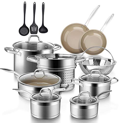 Duxtop 17PC Professional Stainless Steel Induction Cookware Set, Stainless Steel Ceramic Nonstick Pan Set, Impact-bonded Technology, FUSION Titanium Reinforced Ceramic Coating