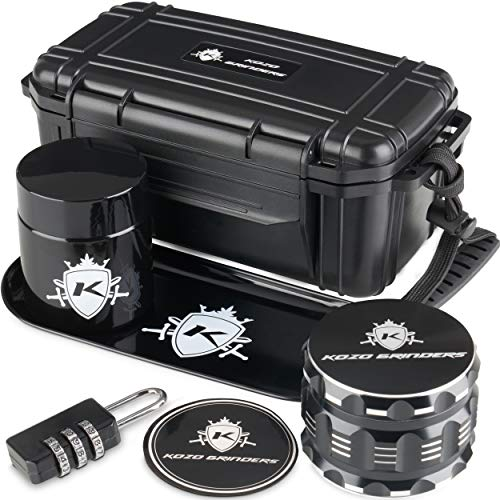 """Kozo Smell Proof Stash Box Combo Kit with Aluminium 2.5"""" Herb Grinder, Rolling Tray, Odor Proof Container Jar and A Combination Lock. Airtight Locking Box Set with All The Accessories You Need!"""