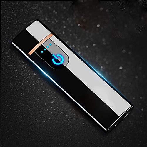 Wiber - Mechero electrónico recargable por USB, resistente al viento, sin llama, con sensor LED de huellas dactilares, encendido por dos caras, Negro hielo.
