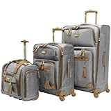 Steve Madden Designer Luggage Collection- 3 Piece Softside Expandable Lightweight Spinner Suitcases- Travel Set includes Under Seat Bag, 20-Inch Carry on & 28-Inch Checked Suitcase (Harlo Gray)
