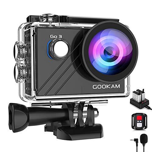 GOOKAM Action Cam 4K 20MP WiFi EIS Fotocamera Subacquea 40M Impermeabile Videocamera 170 Gradi Grandangolare con Microfono Esterno Telecomando 2x1200mA batterie e Accessori