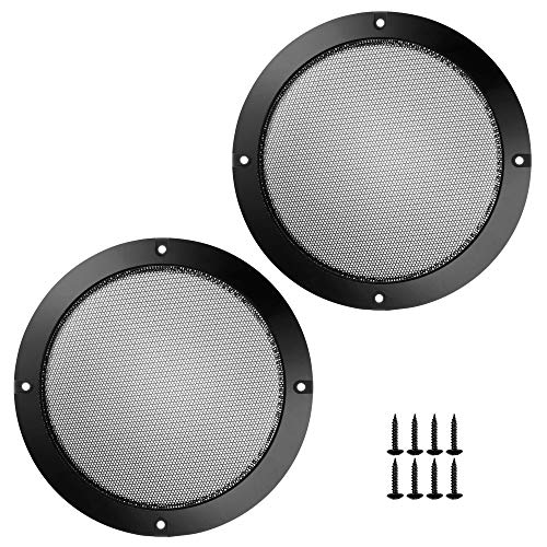 Bluecell 2 pcs Black Color Speaker Grills Cover Case with 8 pcs Screws for Screw Hole C to C 6.68' Speaker Mounting Home Audio DIY
