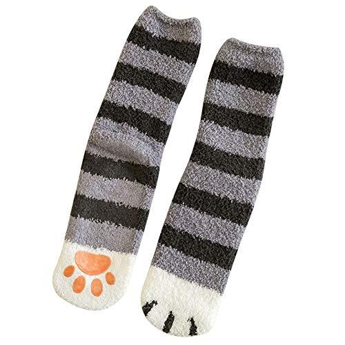 Gelentea - Calzini invernali caldi a forma di zampa di gatto, antiscivolo, con simpatici cartoni animati, per donne e ragazze che dormono a casa a pavimento