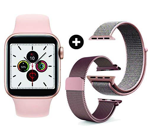 Relógio Smartwatch IWO 12 Rose com 3 Pulseiras Inclusas (Nylon + Aço + Silicone) 40mm