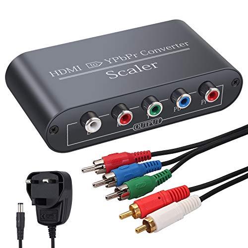 Neoteck - Convertitore video da HDMI a Component in alluminio 1080p HDMI a YpbPr RGB 5RCA con funzione scaler incluso adattatore di alimentazione 3RCA e cavo audio 2RCA