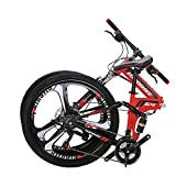 OBK G4 26' Full Suspension Folding Mountain Bike 21 Speed Bicycle Men or Women MTB Foldable Frame (Red)