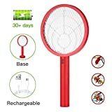 Teniswatter Electric Bug Zapper Fly Swatter Zap Mosquito Indoor Outdoor Pest Control, 4000V Grid Usb Rechargeable Led Lighting 3 Layers Mesh, Red