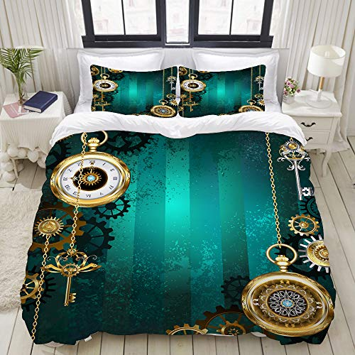 ALLMILL Bedding Duvet Cover set, Industrial, Antique Items Watches Keys and Chains with Steampunk Influences Illustration Decorative, Microfibre Duvet Cover set 135 x 200cm with 2 Pillowcase 50 X 80cm