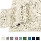 Microfiber Bath Rugs Chenille Floor Mat Ultra Soft Washable Bathroom Dry Fast Water Absorbent Bedroom Area Rugs Indoor Mats for Entryway, Cream 20' x 32'/17' x 24'