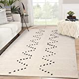 Moroccan Cotton Area Rug 4' x 6', KIMODE Woven Fringe Throw Rugs Cream and Black Modern Geometric Collection Rugs Machine Washable Indoor Floor Runner Rug for Porch Kitchen Bedroom Living Room