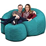 ULTIMATE SACK 6000 Bean Bag Chair w/Footstool: Giant Foam-Filled Furniture - Machine Washable Covers, Double Stitched Seams, Durable Inner Liner, and 100% Virgin Foam Footstool Incl. (Teal, Suede)