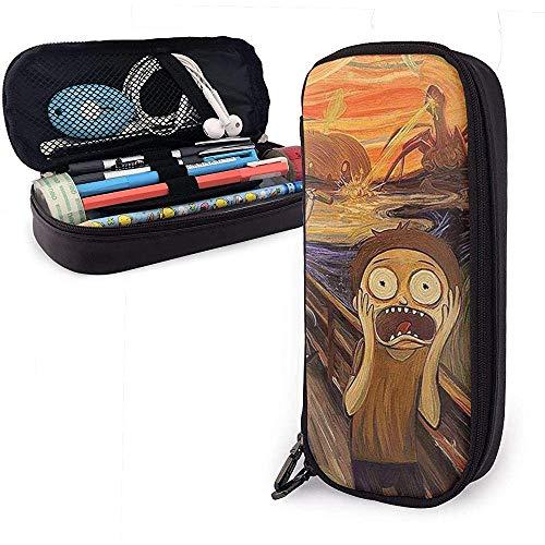 Astuccio per matite in pelle horror Monster Scream in stile pittura ad olio con cerniera, astuccio per penne in pelle PU con cancelleria in pelle