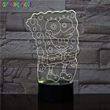 SpongeBob SquarePants Table Lamp 3D Illusion Usb Bedroom Decor Kid Child Table Lamp Night Light SpongeBob