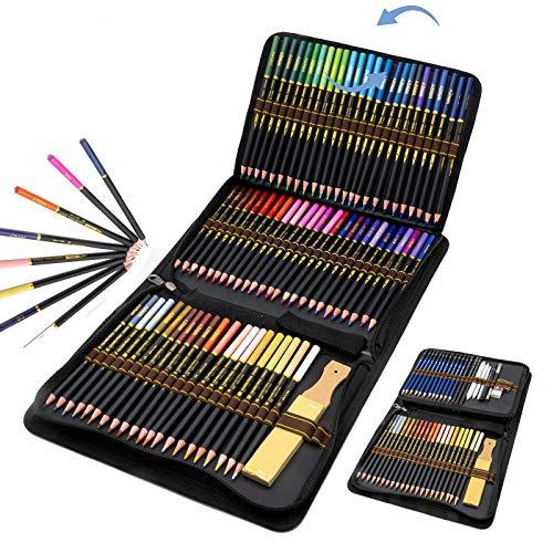 Set di 96 Matite Colorate per Artisti, Adulti e Bambini con Cerniera, Comodo astuccio con zip per raggruppare e proteggere le tue Matite Disegno, ideali per libri da colorare e scuola