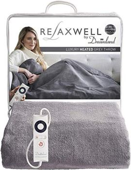 Dreamland Relaxwell Intelliheat fast heat up in 5 minutes, Luxury Velvety Grey heated electric throw 160 x 120 cm, 6 temperature settings & timer, machine washable & tumble dry safe, 2 year guarantee