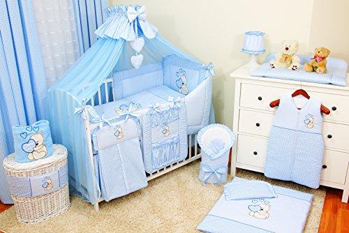 Baby-Bettwaren, Komplettset XXL,18-teilig, Bettwäsche, 100{a626e129133190f26c23b758a0c79b936d5c8491dafbb4735d1b25e270b3316c} Baumwolle mit Stickerei + Moskitonetz, mit Teddy/Bär besticktes Motiv für Mädchen oder Jungen. (Blau, 60x120cm)
