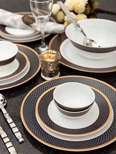 La Opala Regent Blue Sovrana Collection Opalware Dinner Set, 33 Pieces, White