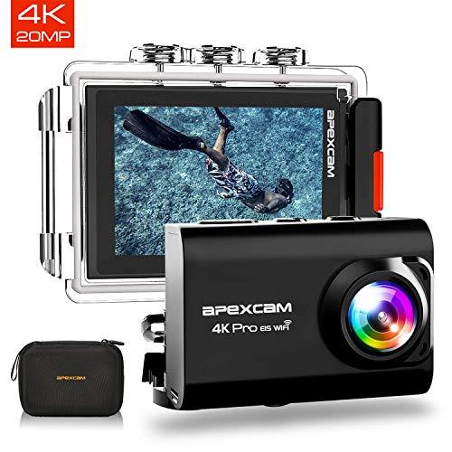 【2019 New】Apexcam Action cam 4K 20MP Sportkamera EIS WiFi Wasserdichte Unterwasserkamera 40M Externes Mikrofon 2.0\'LCD 170 ° Weitwinkel 2,4G Fernbedienung 2x1200mAh-Batterien und mehrere Zubehörteile