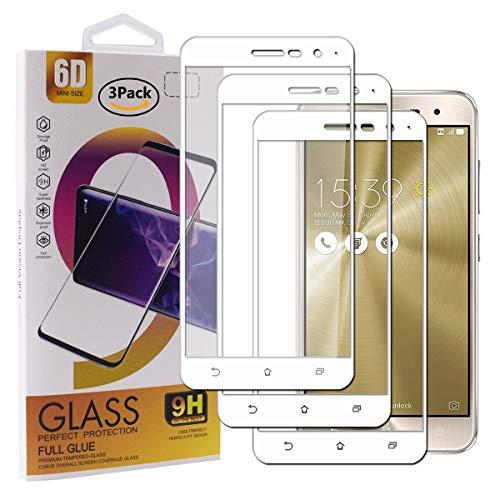 Guran [3 Pezzi Pellicola Vetro Temperato per ASUS Zenfone 3 ZE520KL (5.2pollice) Smartphone Copertura Completa 9H Durezza Anti-Impronte HD Pellicola Protettiva - Bianco