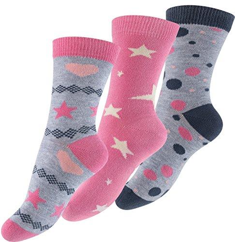 Cotton Prime 6 paia di colorato Calzini punti e stelle Bambina
