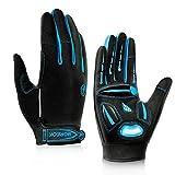 BIKINGMOREOK Cycling Gloves Mountain Bike Gloves MTB Gloves Biking Gloves Men Women,Full Finger Touch Screen Non-Slip Shockproof Gel Padded Dirt Bike Gloves Blue-XL