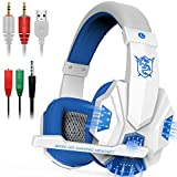 Gaming Headset with Mic and LED Light for Laptop Computer, Cellphone, PS4 and so on, DLAND 3.5mm Wired Noise Isolation Gaming Headphones - Volume Control.(White and Blue)