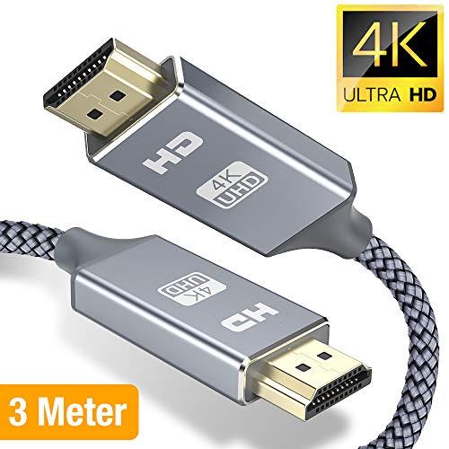 4K Hdmi Kabel 3m,Snowkids HDMI 3Meter 2.0 High Speed 18Gbps 4K@60Hz Nylon Geflechtkabel, Video UHD 2160p, Ultra HD 1080p, 3D, ARC, CEC, Xbox PS3 PS4 PC