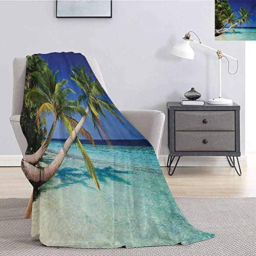Luoiaax Ocean Children's Blanket Maldives Bay Paradise Resort Summer in Pacific Holiday Destinations Lightweight Soft Warm and Comfortable W70 x L90 Inch Navy Blue Turquoise Green