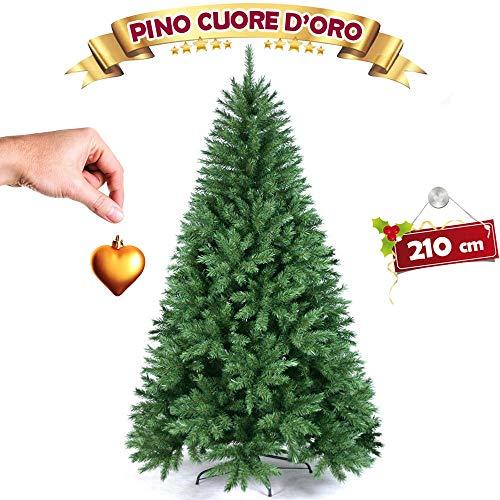 BAKAJI Albero di Natale Pino Cuore d'oro Ecologico e Ignifugo con Base a Croce in Ferro Pieghevole Super Folto Rami Innesto Ad Uncino Colore Verde (210 cm)