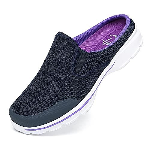 CELANDA Zuecos de Transpirable para Mujer Hombre Comodas Zapatillas de Casa Mules Antideslizante Ligero Planos Zapatos Pantuflas Casual Exterior y Interior Azul Violeta 41EU