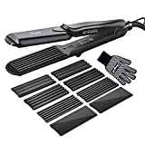 Hair Crimper, CkeyiN Crimping Irons Hair Straightener Flat Iron with 4 Interchangeable Tourmaline Ceramic Plate Adjustable Temperature for All Hair Types
