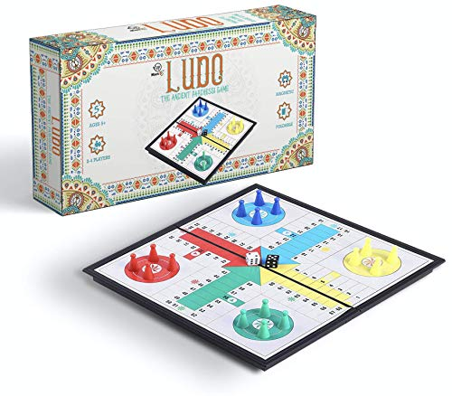 KingMade Magnetic Ludo Board Game - Small Parcheesi Travel Game   Interesting Gift for All Ages, 2 - 4 Players (10 Inches)