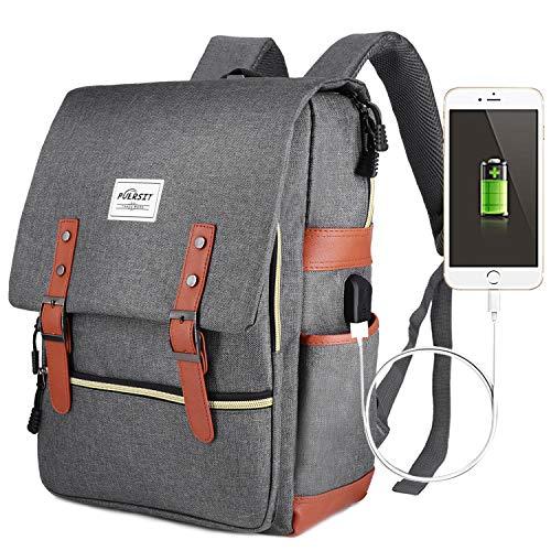Zaino Laptop, Puersit Zaino PC Donna 15.6 Pollici Zaino Porta PC Zaino Casual con Caricatore USB per università o scuola Backpack uomo business