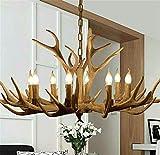 8 Lights Vintage Resin Antler Chandelier with Chain, Faux Antler Fixture Deer Horn Ceiling Light Pendant Chandeliers for Living Room,Bar,Cafe